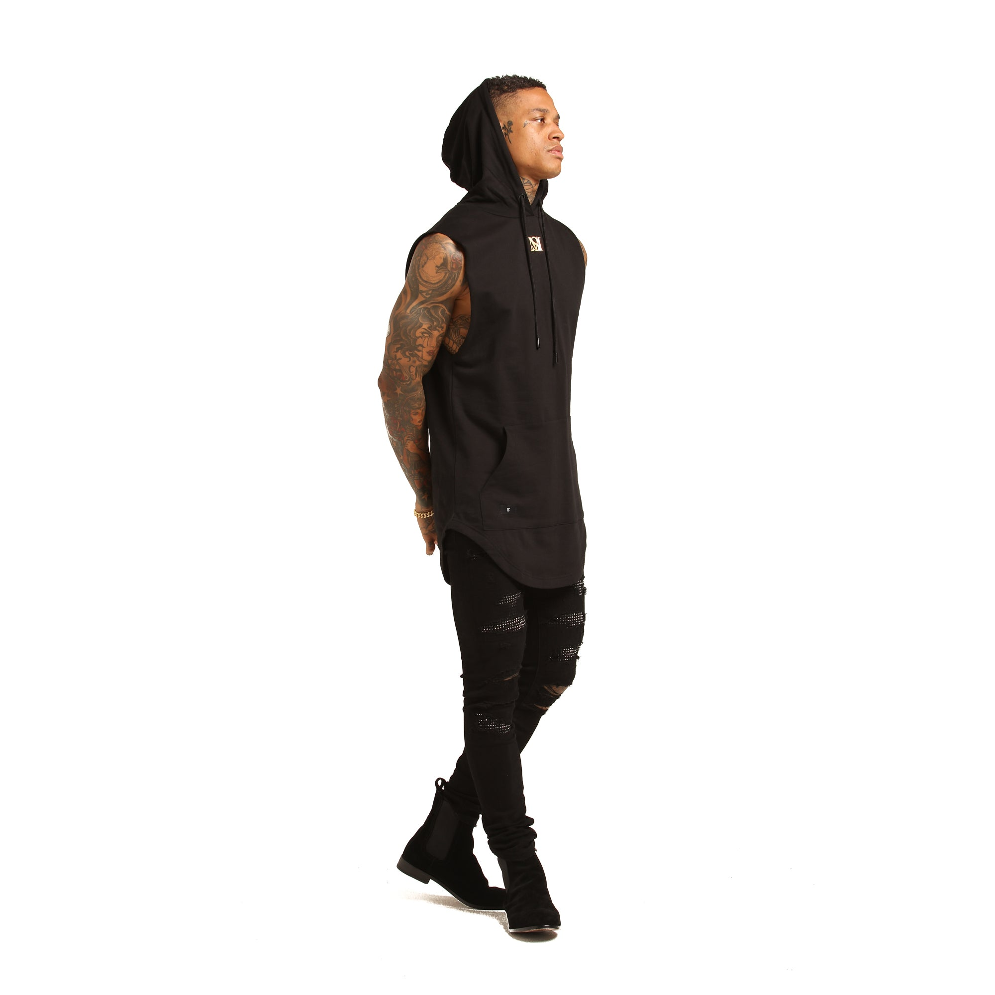 GUILD SLEEVELESS HOODY - Black/Gold
