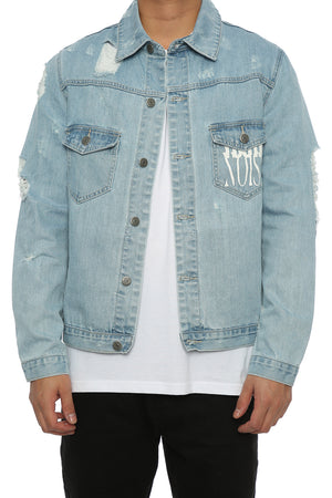 DISTRESSED DENIM JACKET - Blue Denim