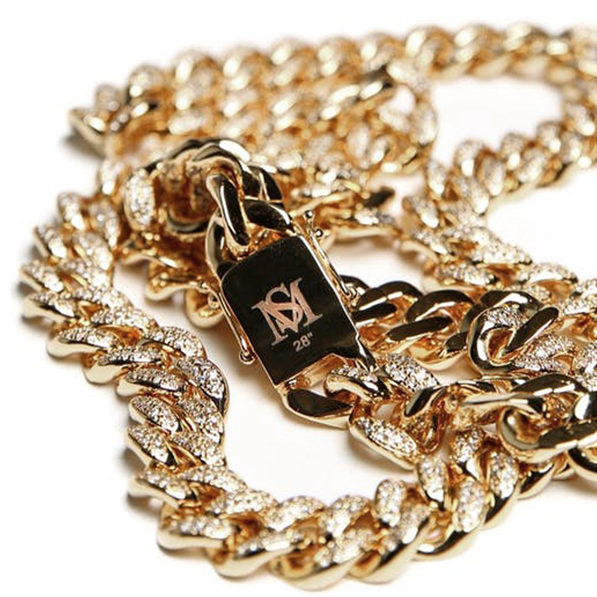 "DIAMOND 28"" CUBAN LINK 19MM - 18k Gold Plated with CZ"