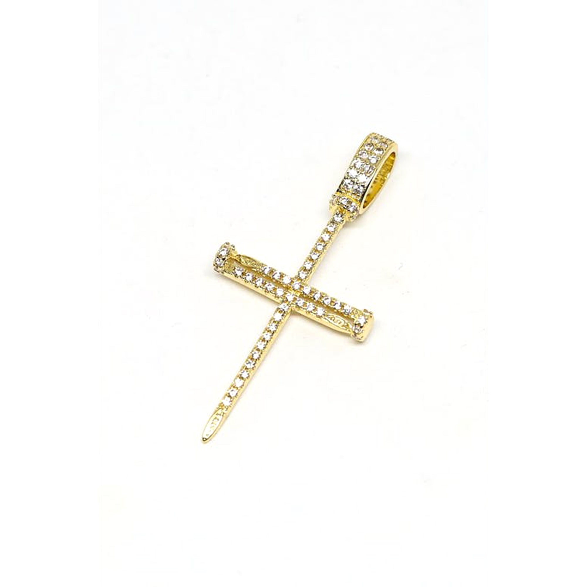 NAIL CROSS PENDANT - 18k Gold Plated with CZ