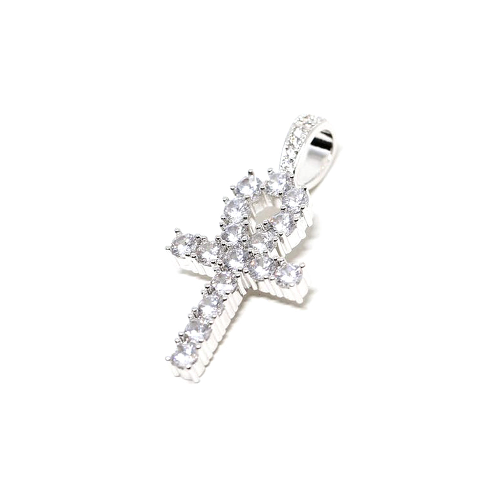 ANKH CROSS PENDANT - White Gold with CZ