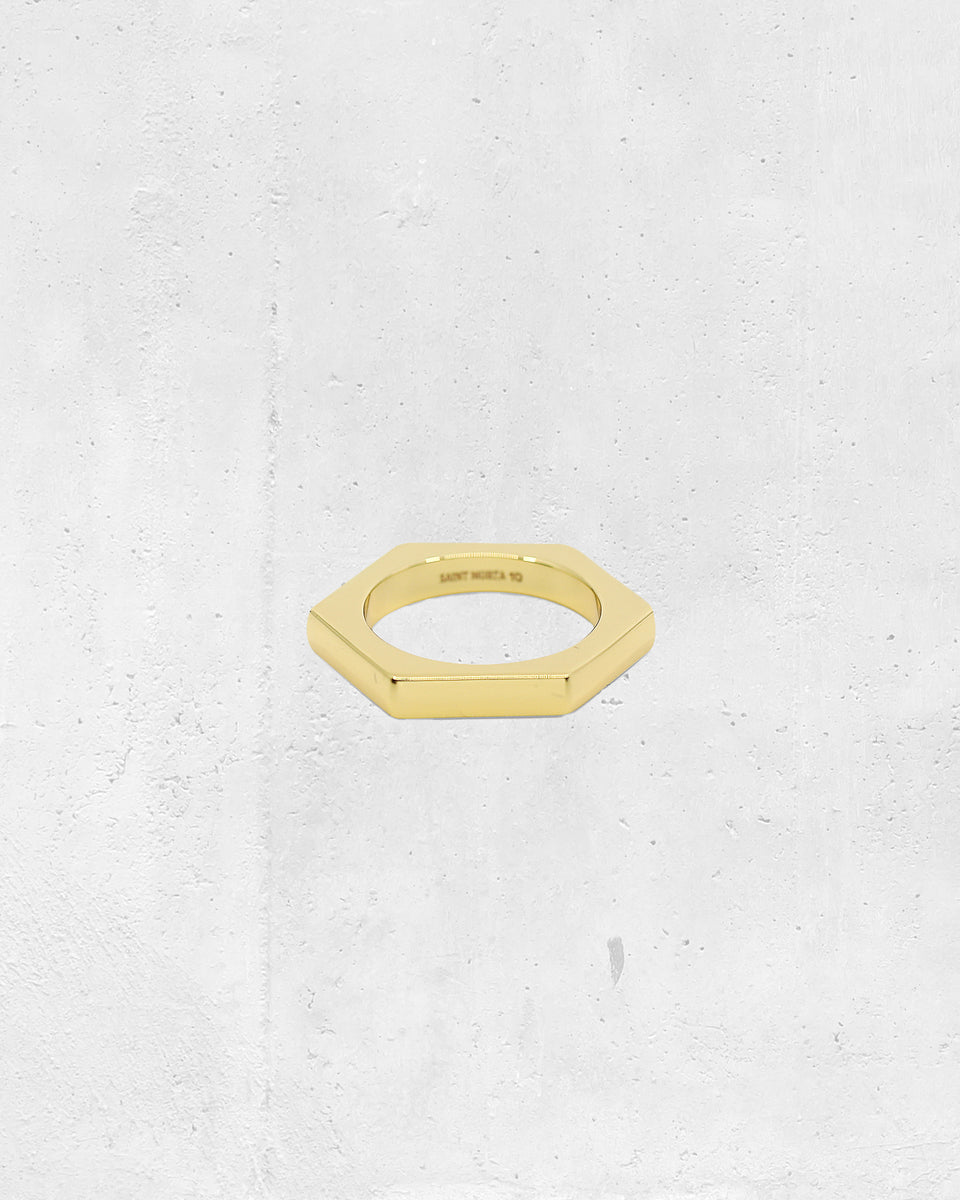 4MM HEX RING - Gold