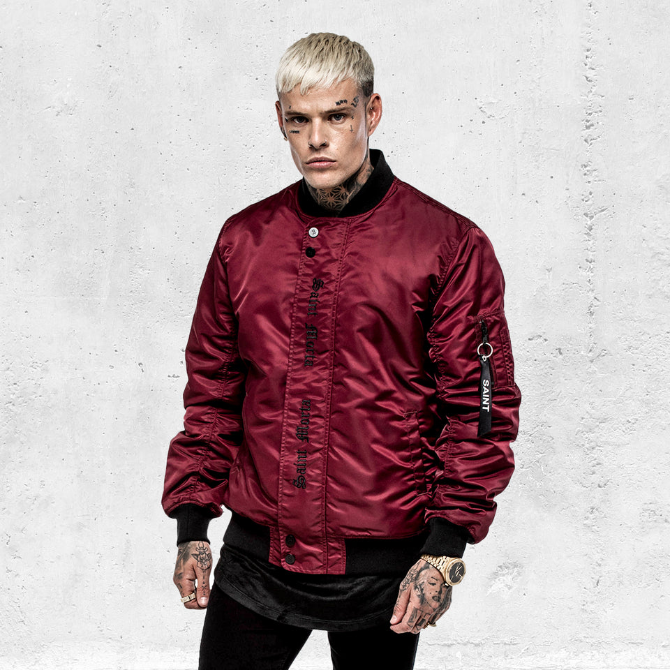 Cambronne Bomber Jacket - Burgundy/Black