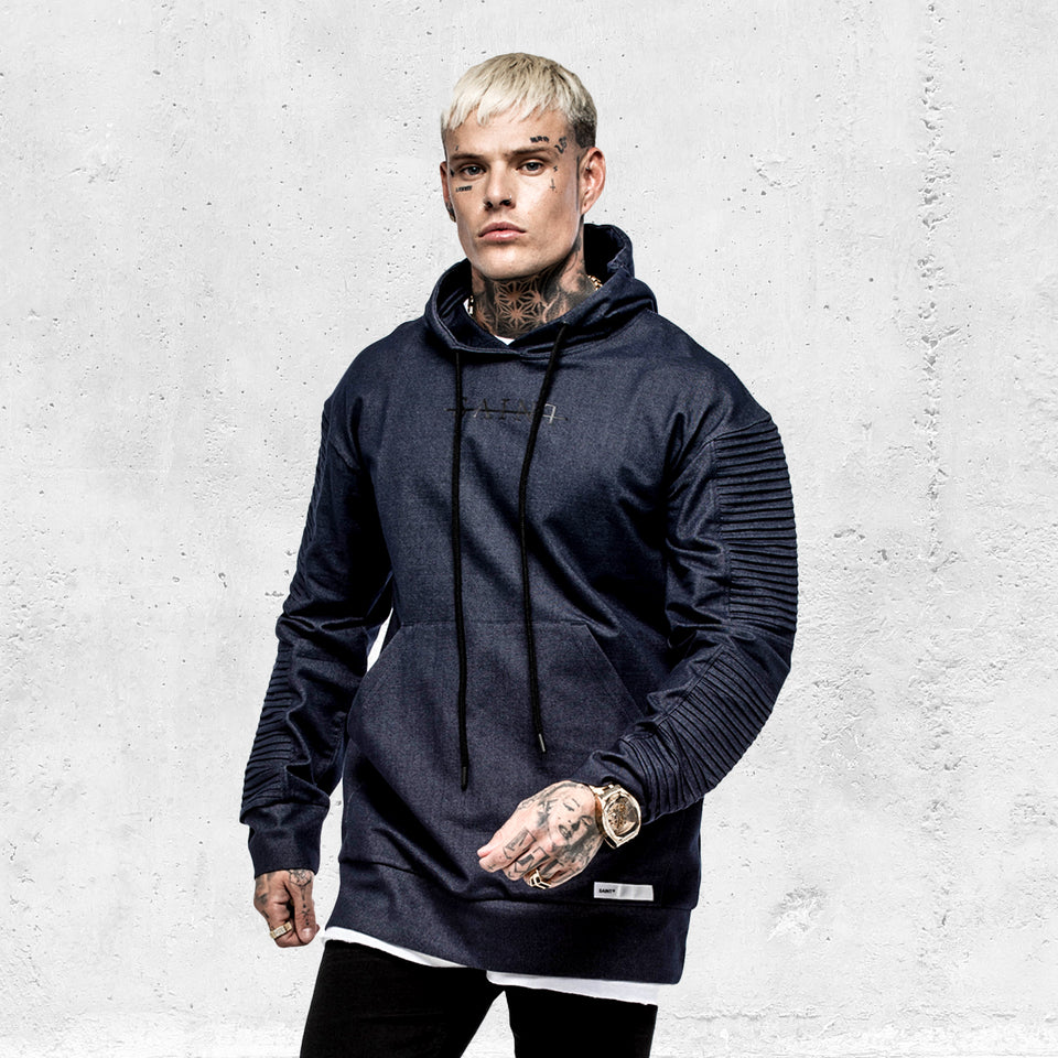 DENIM BIKER HOODY - Navy/Black