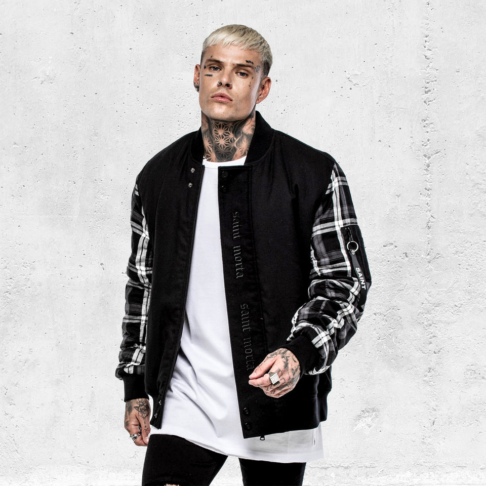 FLANNEL X BOMBER - Black/Grey