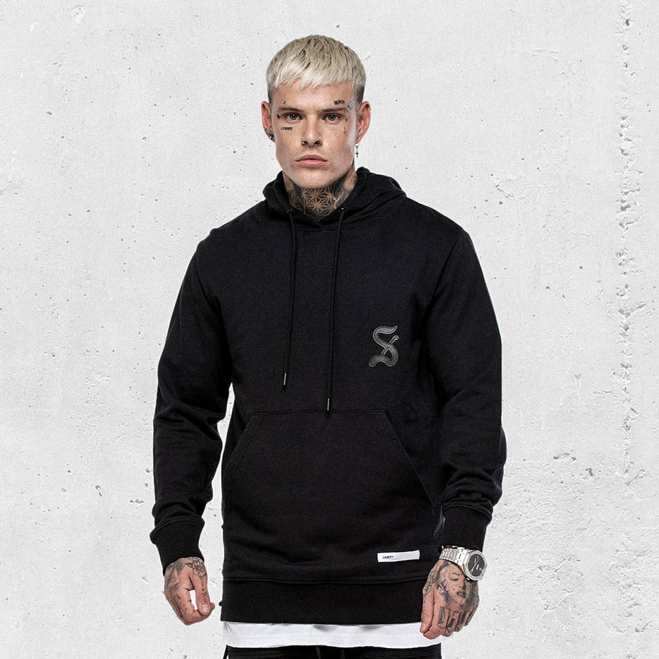 ROPE PANEL HOODY - Black/Black