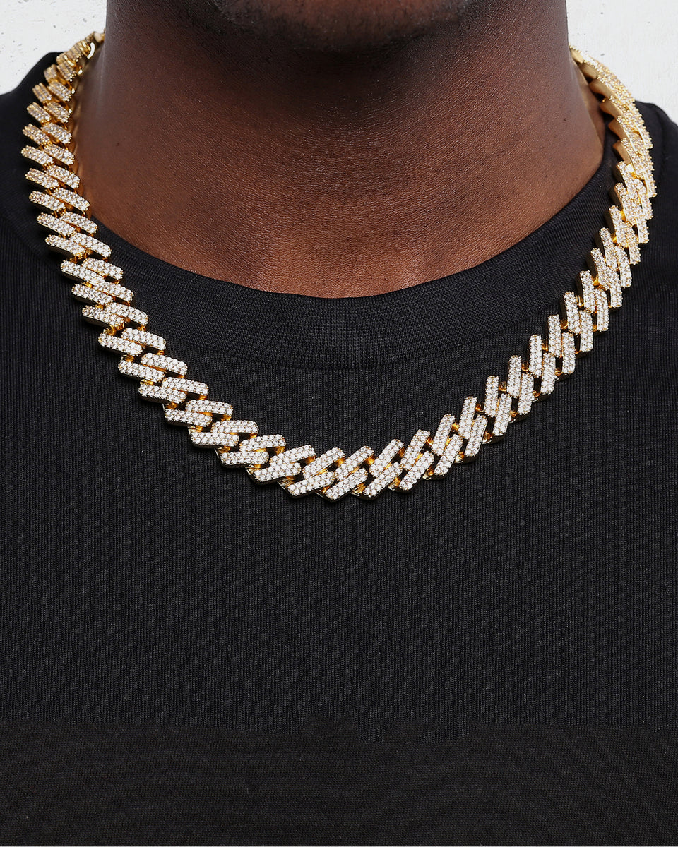 "INTERLINK NECKLACE 14MM / 22"" - Iced Gold"