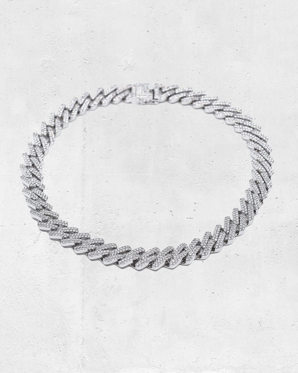 "INTERLINK NECKLACE 14MM / 18"" - Iced White Gold"