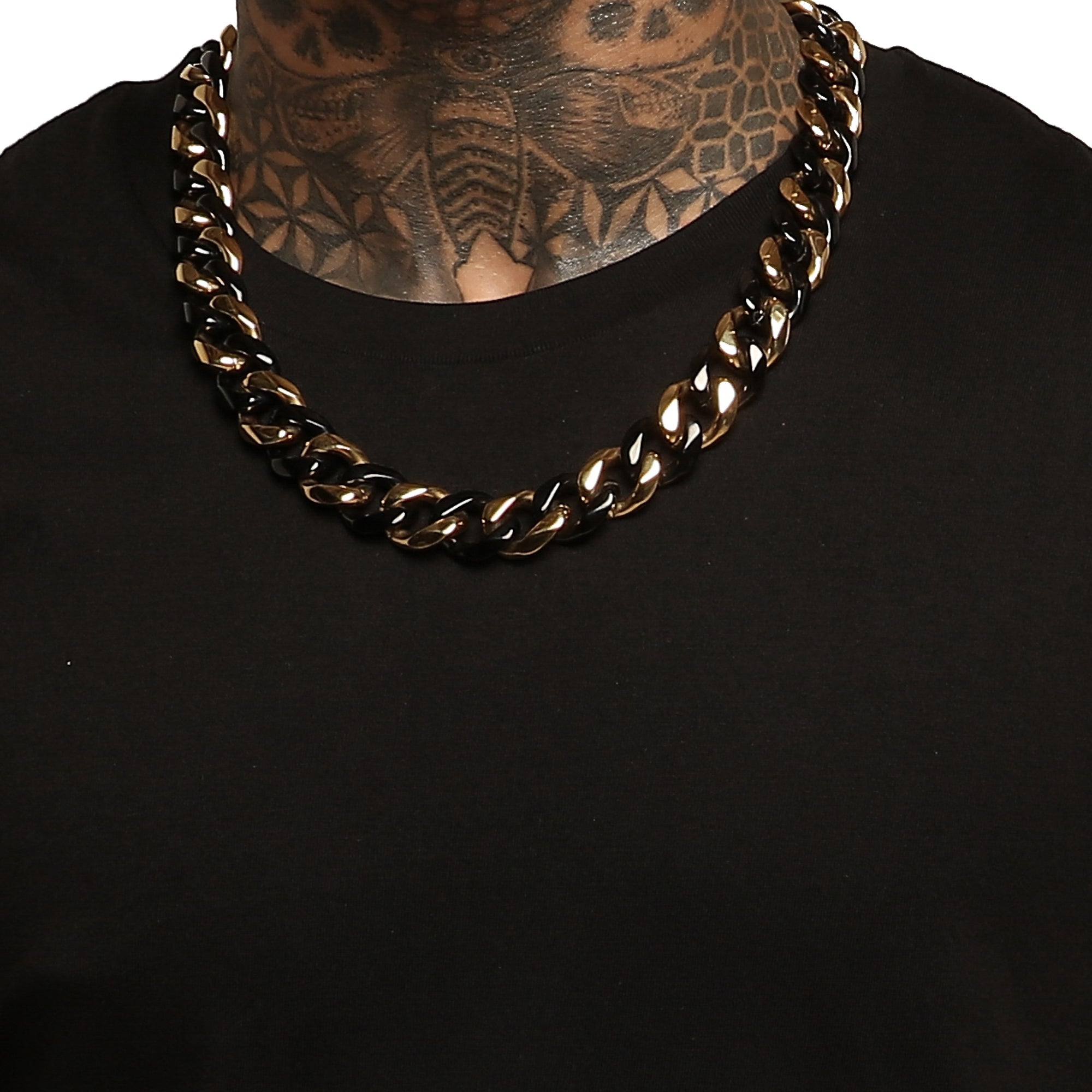 "24"" CUBAN LINK 19MM CHAIN - Black/Gold"