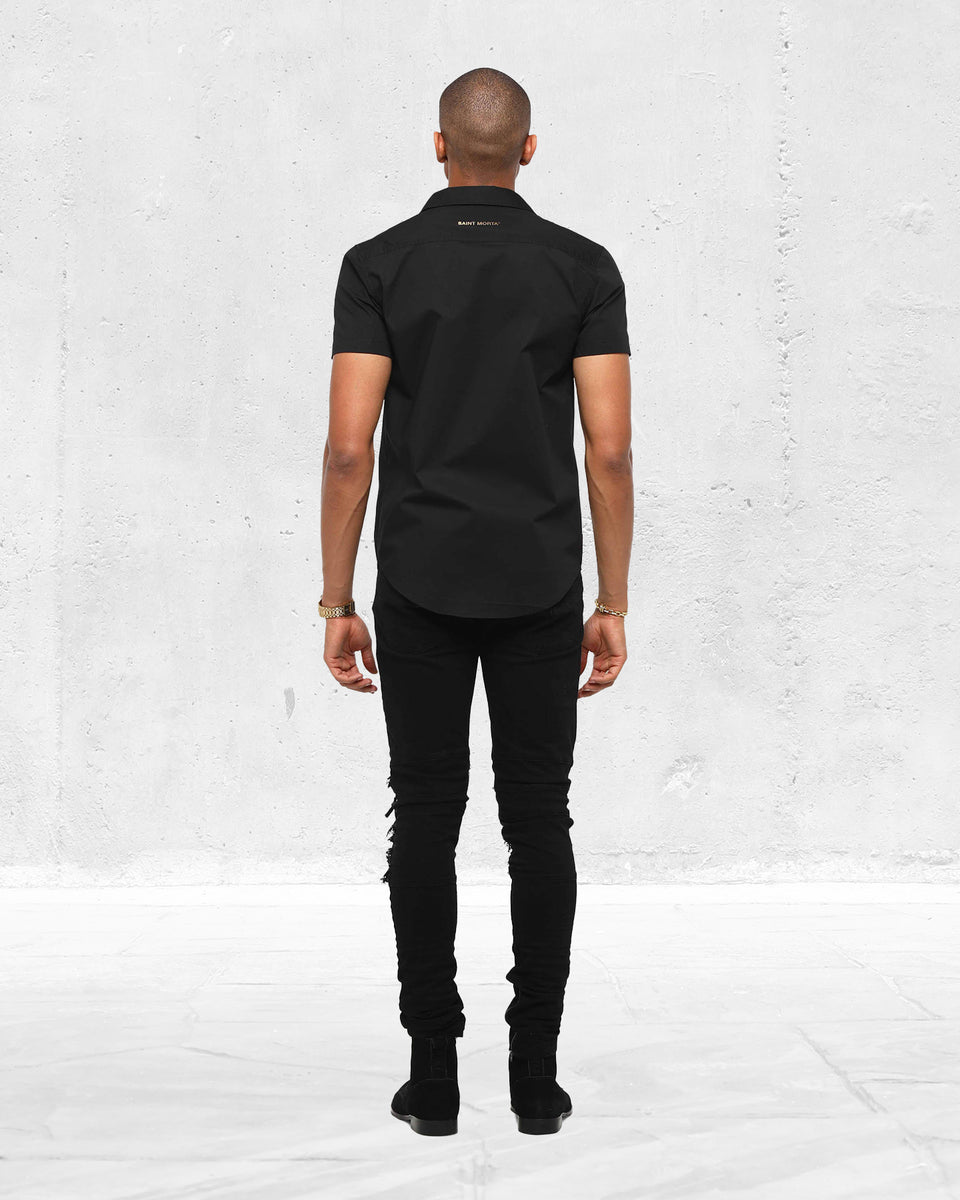 SLIM FIT SS BUTTON UP - Black