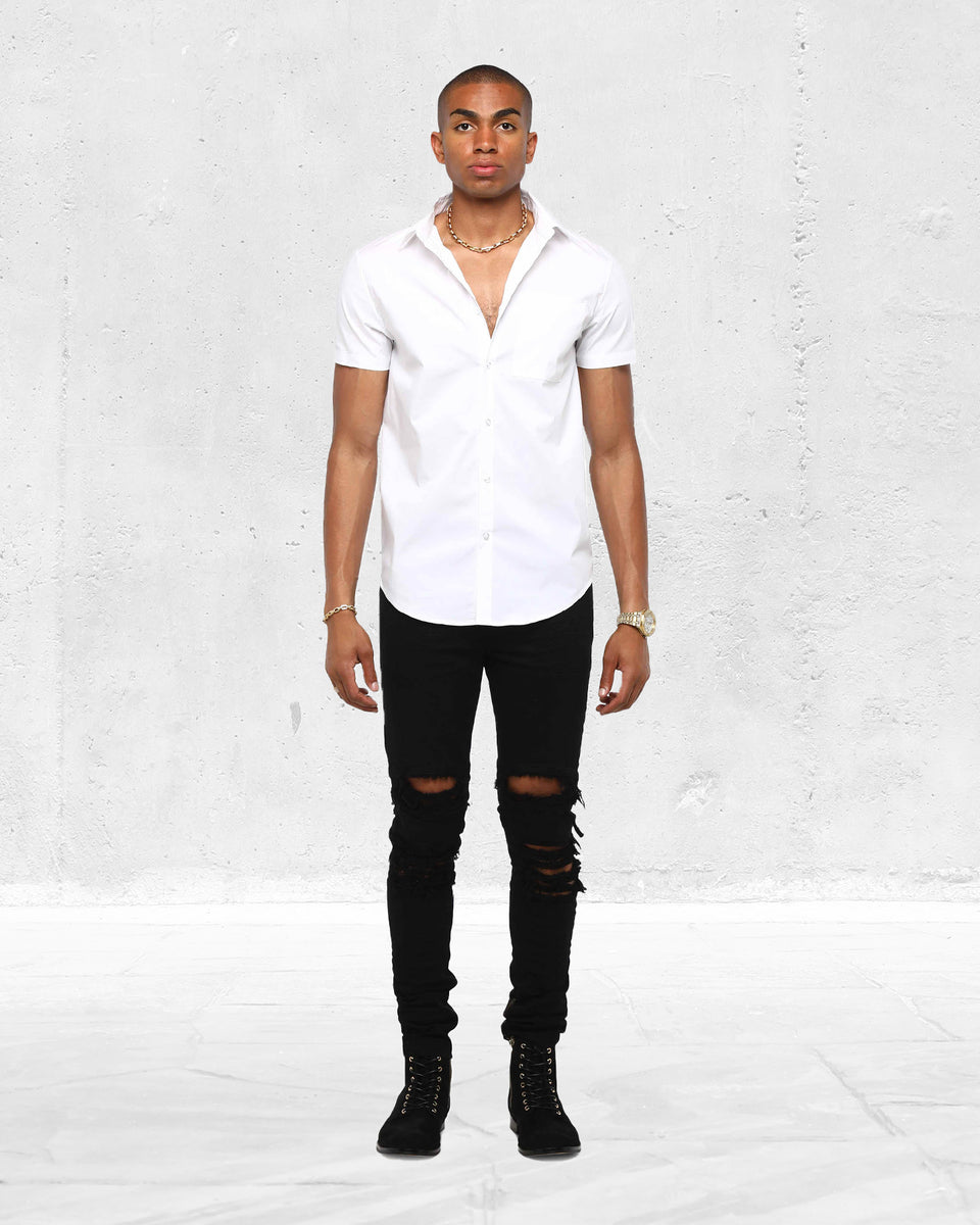 SLIM FIT SS BUTTON UP - White