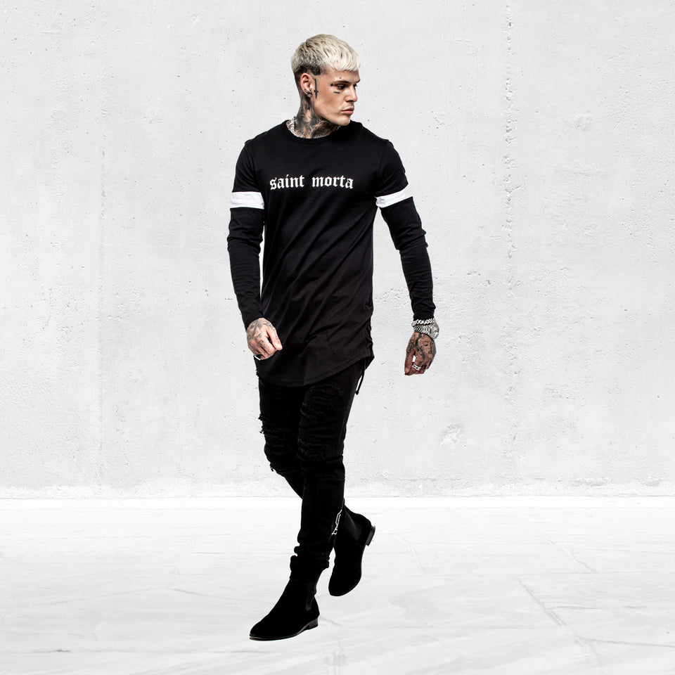 ORIGINALE LS ROPE PANEL TEE - Black/White