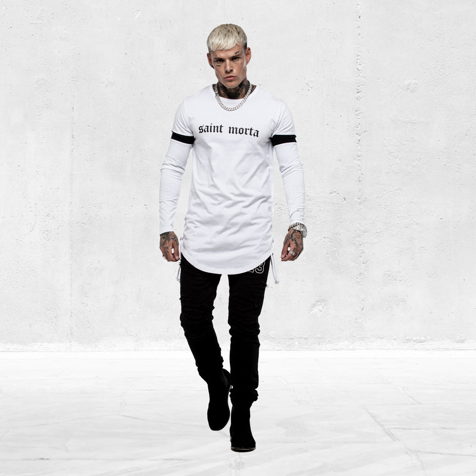 ORIGINALE LS ROPE PANEL TEE - White/Black