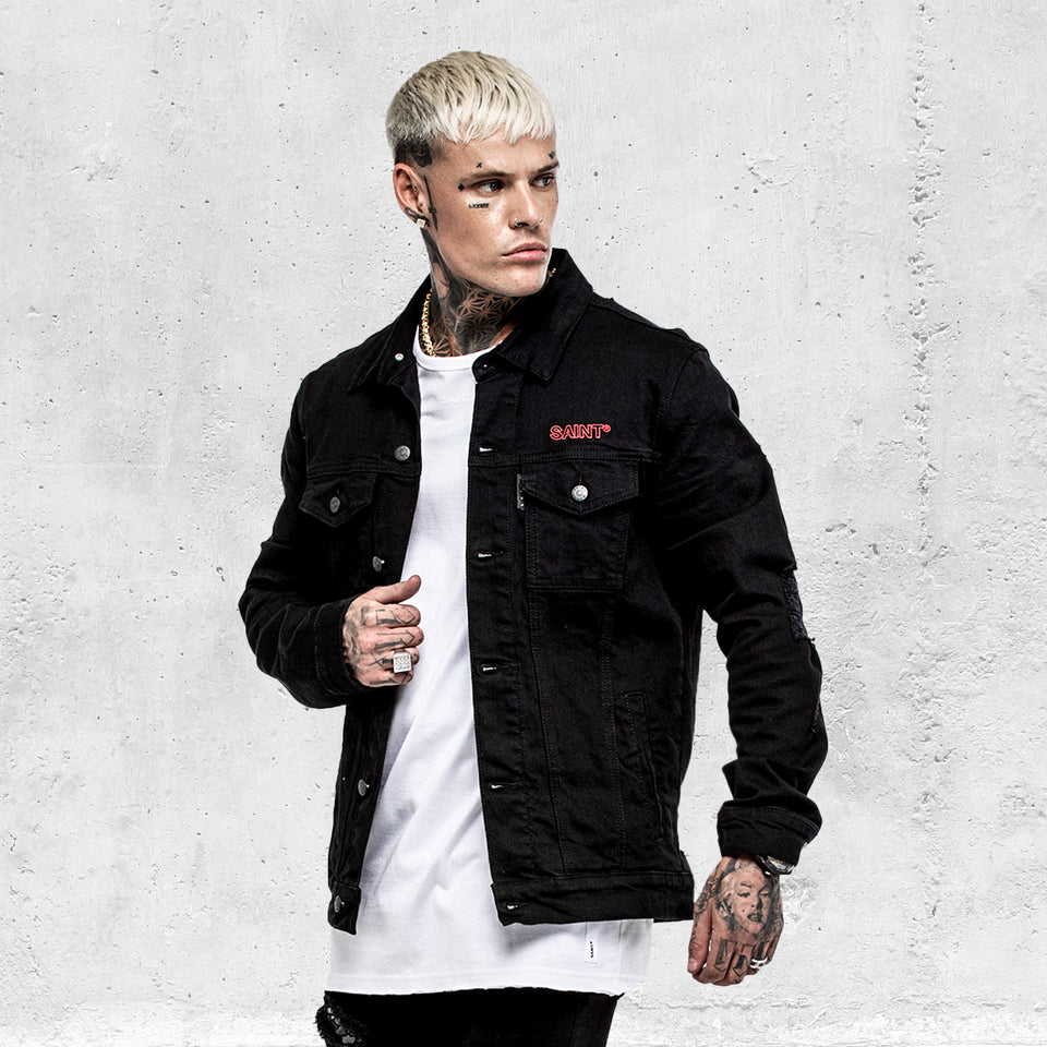 VENOM DENIM JACKET - Black/Red