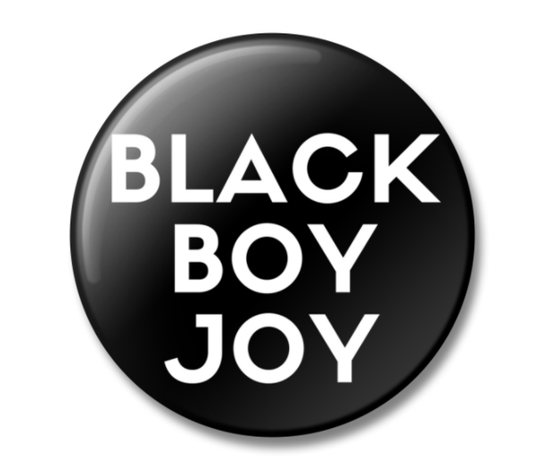 Black Boy Joy Button - SMALL - WHITE