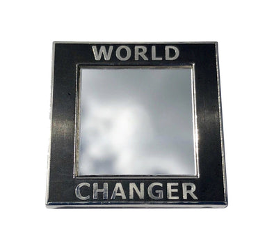 World Changer Mirror Lapel Pin - Silver