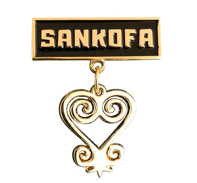 Sankofa Lapel Pin - with hanging charm