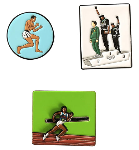 BHM Sports Heroes Pin Set - Ali, Wilma, & 1968 Olympics - Radical Dreams Pins