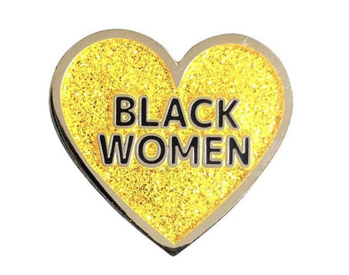 Love Black Women Lapel Pin - Gold Glitter
