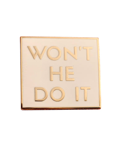 Won't He Do It Lapel Pin - White