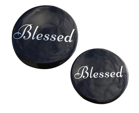 Blessed Button - BIG - SILVER