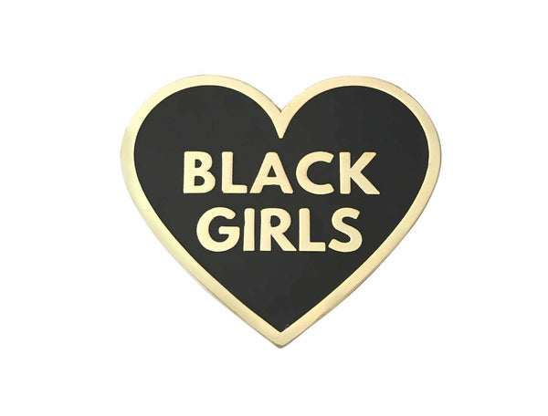 Love Black Girls Lapel Pin - Black