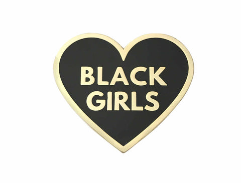 I love black girls lapel pin in black and gold