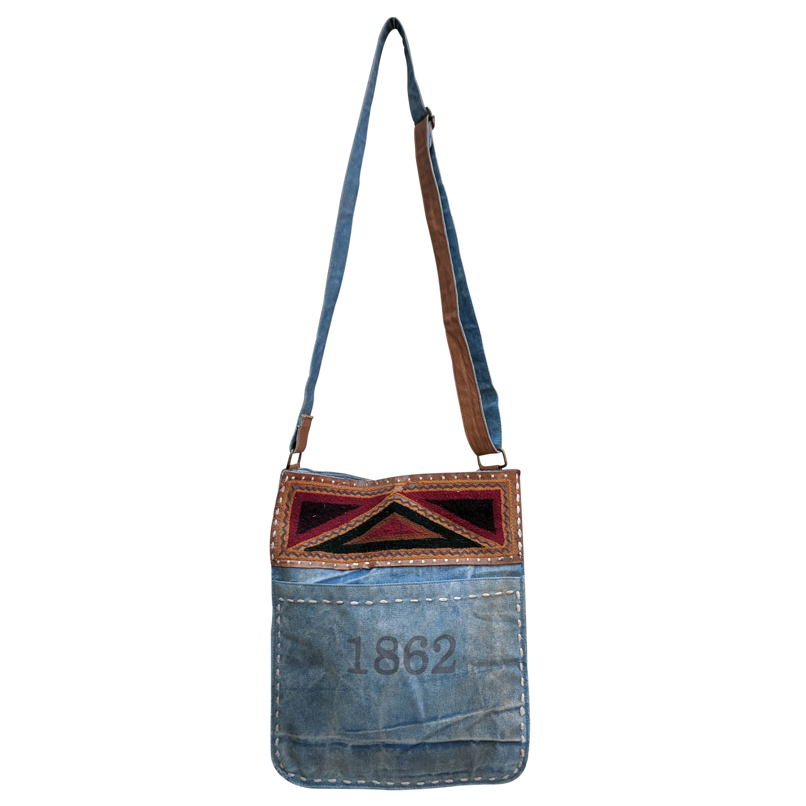 Vintage Stitched Denim Crossbody