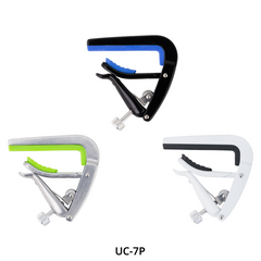 Tiki UC-7P Ukulele Capos in Black, Silver and White