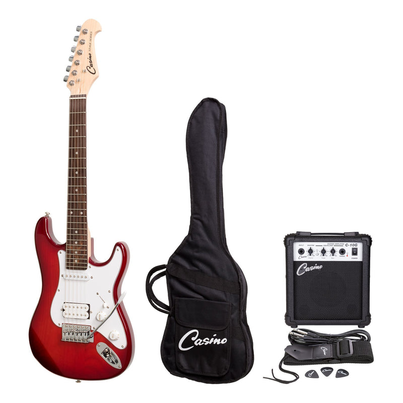 CP-STMINI-TWR-Casino ST-Style 3/4 Size Electric Guitar and 10 Watt Amplifier Pack (Transparent Wine Red)-Living Music