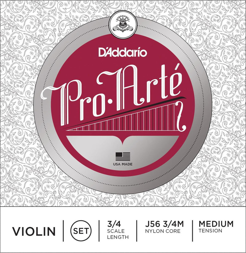 J56 3/4M-D'Aaddario ProArte 3/4 Size Violin String Set (Medium Tension)-Living Music