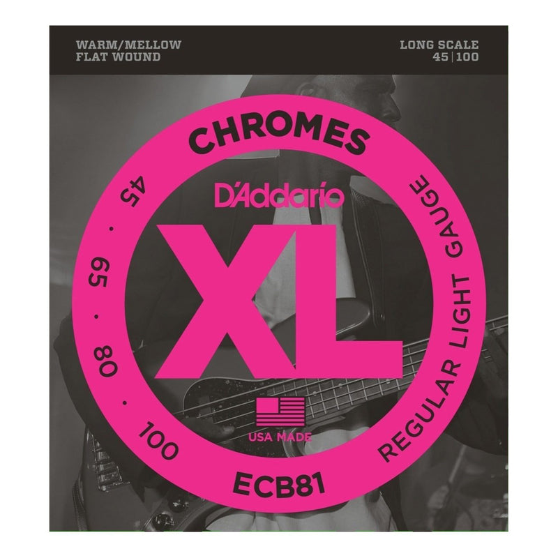 ECB81-D'Addario ECB81 Regular Light Chrome Flat Wound Bass Guitar Strings (45-100)-Living Music