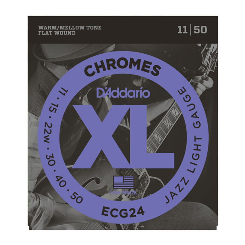 ECG24-D'Addario ECG24 Jazz Light Chrome Flat Wound Electric Guitar Strings (11-50)-Living Music