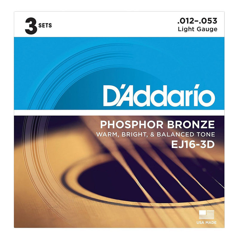 EJ16-3D-D'Addario EJ16-3D 3-Pack Light Phosphor Bronze Acoustic Guitar Strings (12-53)-Living Music