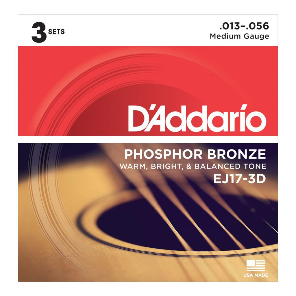 EJ17-3D-D'Addario EJ17-3D 3-Pack Medium Phosphor Bronze Acoustic Guitar Strings (13-56)-Living Music