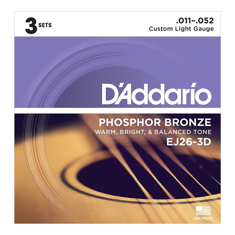 EJ26-3D-D'Addario EJ26-3D 3 Pack Custom Light Phosphor Bronze Acoustic Guitar Strings (11-52)-Living Music