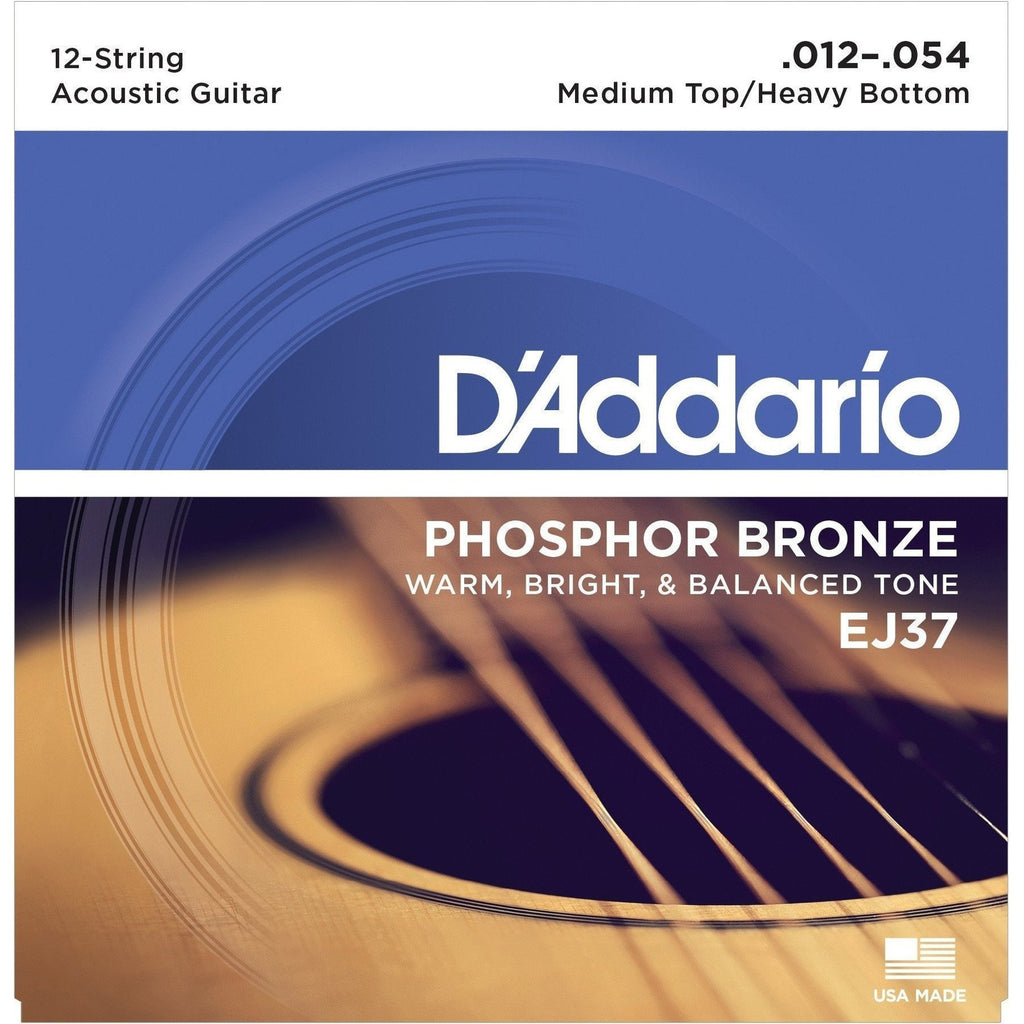 EJ37-D'Addario EJ37 Medium Top/Heavy Bottom Phosphor Bronze 12-String Acoustic Guitar Strings (12-54)-Living Music