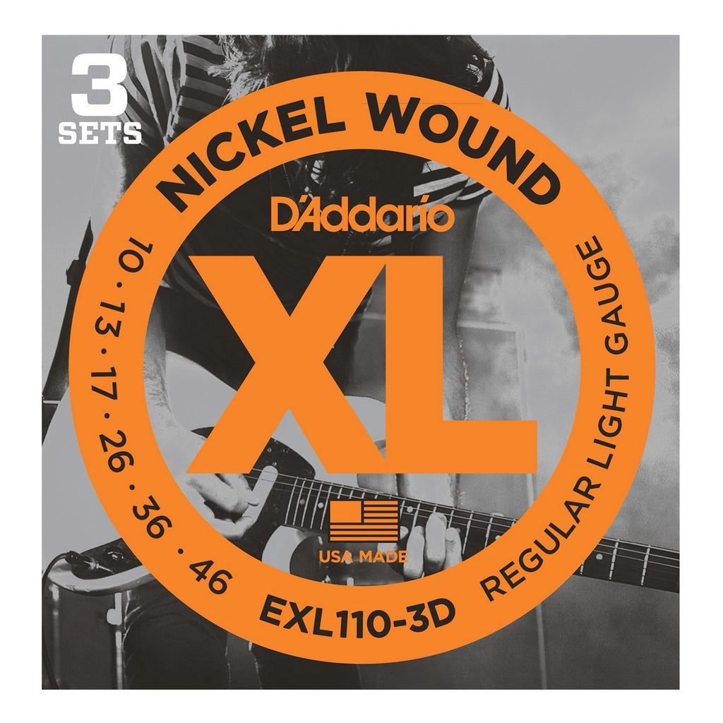 EXL110-3D-D'Addario EXL110-3D 3-Pack Regular Light Electric Guitar Strings (10-46)-Living Music