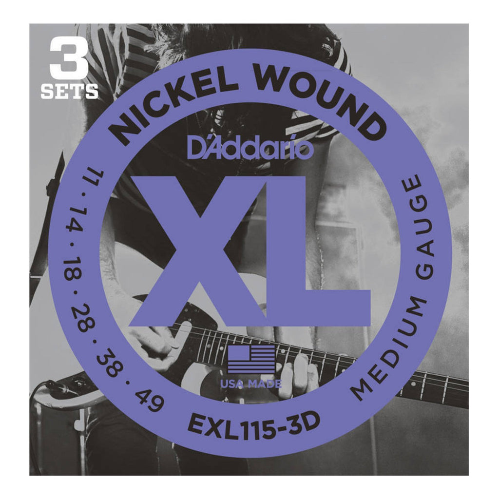 EXL115-3D-D'Addario EXL115-3D 3-Pack Medium Electric Guitar Strings (11-49)-Living Music