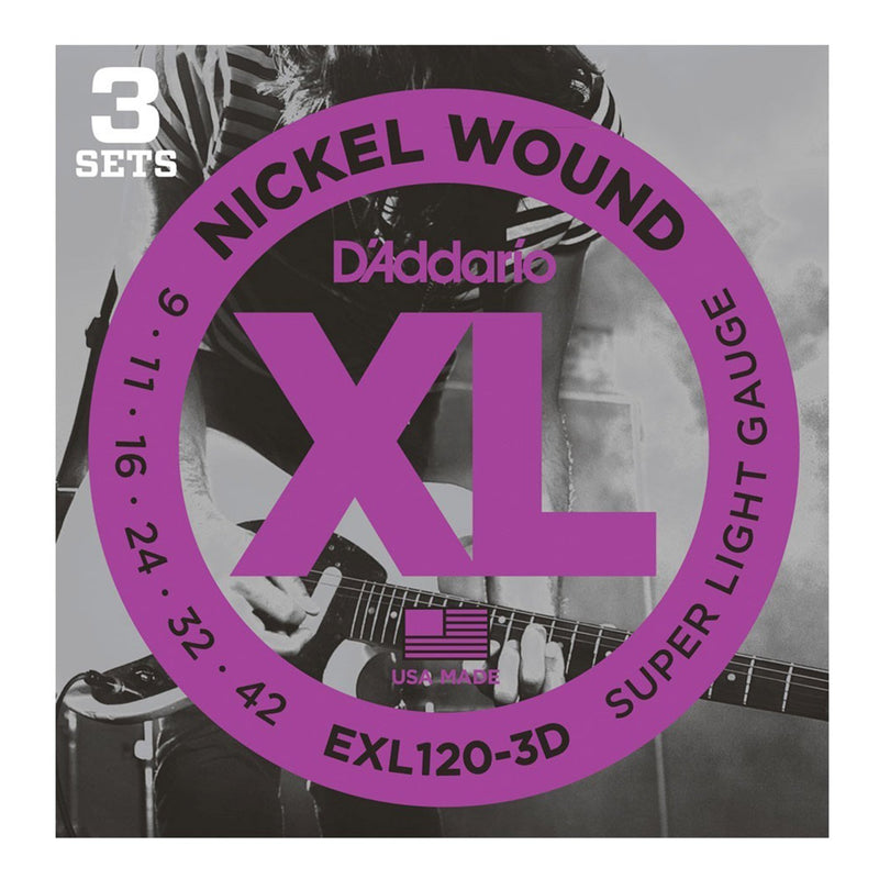 EXL120-3D-D'Addario EXL120 3 Pack Super Light Electric Guitar Strings (9-42)-Living Music
