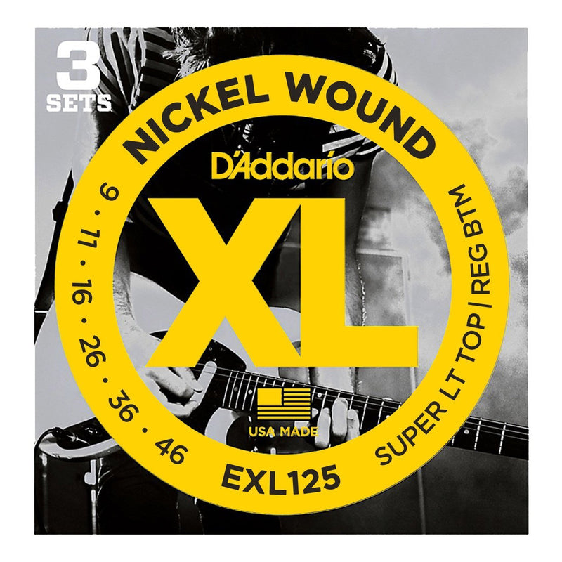 EXL125-3D-D'Addario EXL125-3D 3-Pack Super Light Top/Regular Bottom Electric Guitar Strings (9-46)-Living Music