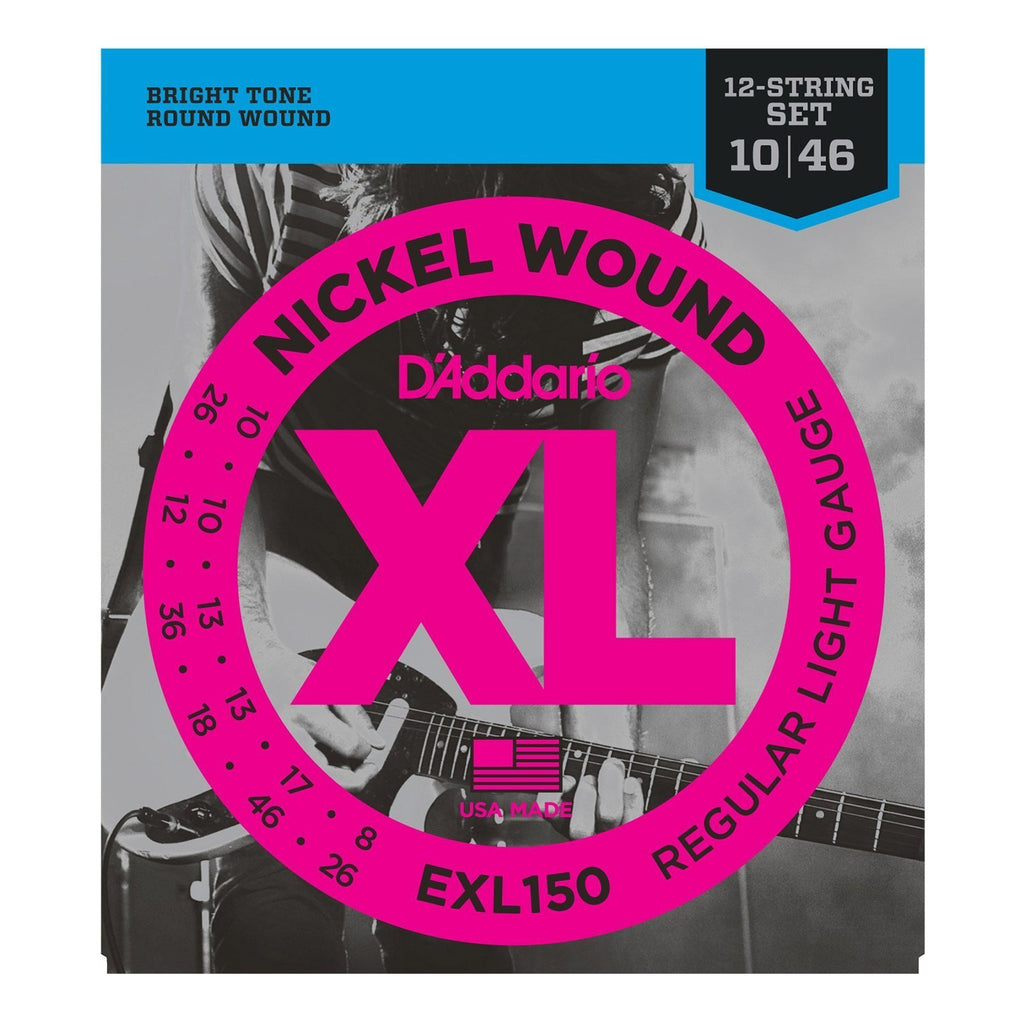 EXL150-D'Addario EXL150 Regular Light 12-String Electric Guitar Strings (10-46)-Living Music