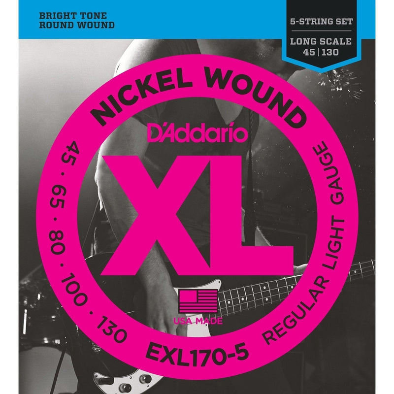 EXL170-5-D'Addario EXL170-5 Regular Light 5 String Bass Guitar Strings (45-130)-Living Music