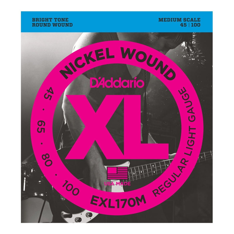 EXL170M-D'Addario EXL170M Regular Light Medium Scale Bass Guitar Strings (45-100)-Living Music