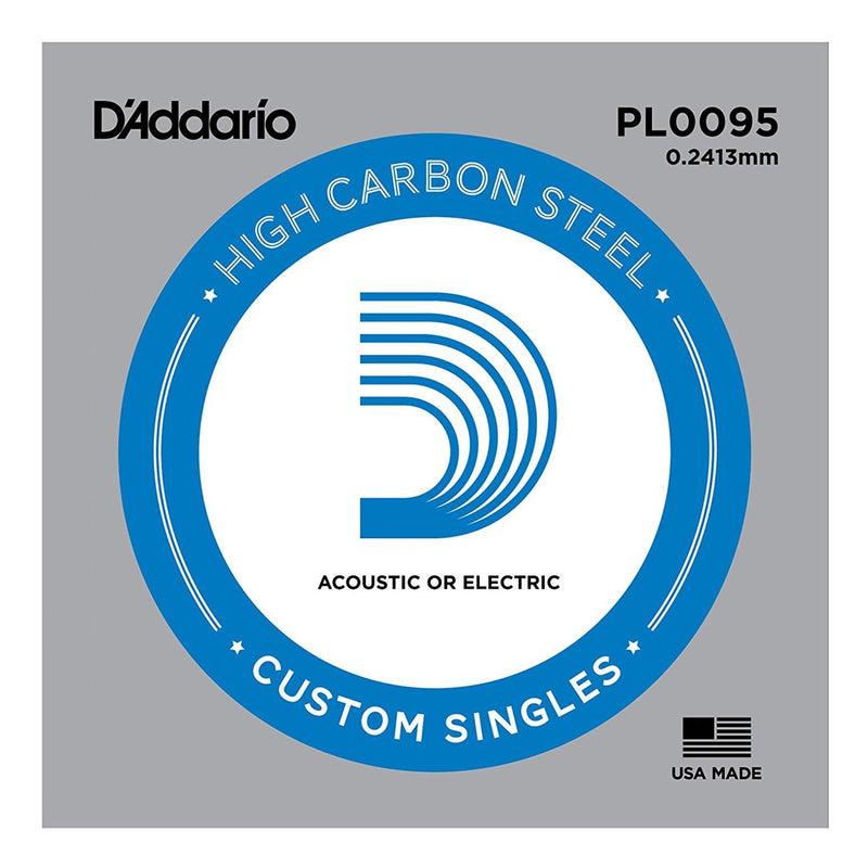 PL009-5-D'Addario PL009-5 5 Pack Plain Steel Single Strings for Acoustic or Electric Guitar (.009)-Living Music