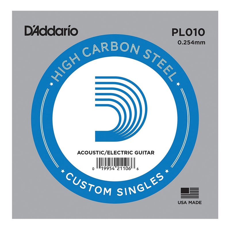 PL010-5-D'Addario PL010-5 5-Pack Plain Steel Single Strings for Acoustic or Electric Guitar (.010)-Living Music