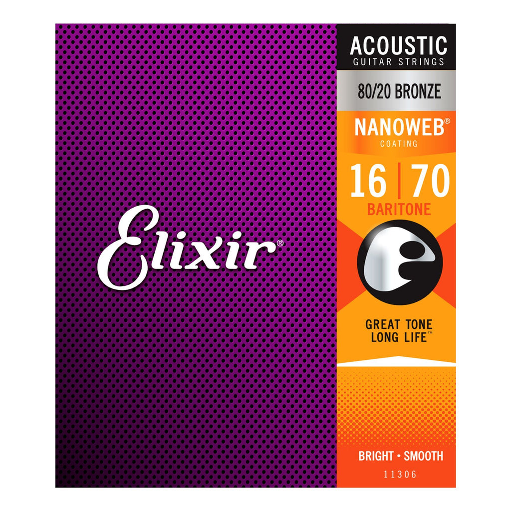 E11306-Elixir 11306 Baritone 80/20 Bronze Nanoweb Acoustic Guitar Strings (16-70)-Living Music