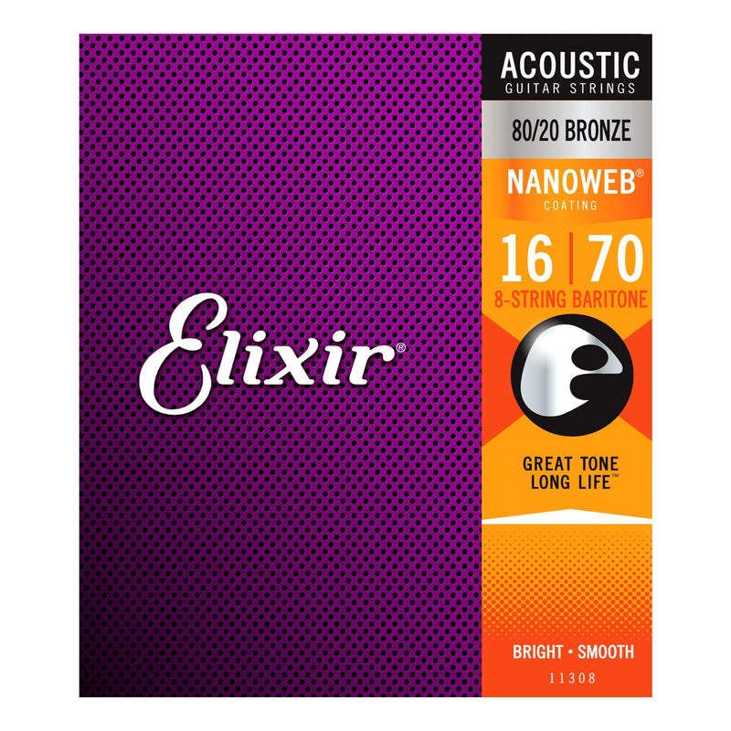 E11308-Elixir 11308 Baritone 8-String 80/20 Bronze Nanoweb Acoustic Guitar Strings (16-70)-Living Music