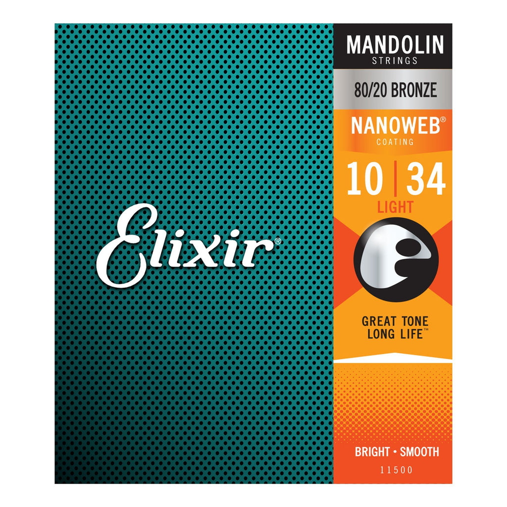 E11500-Elixir 11500 Light Tension 80/20 Bronze Nanoweb Mandolin Strings (10-34)-Living Music