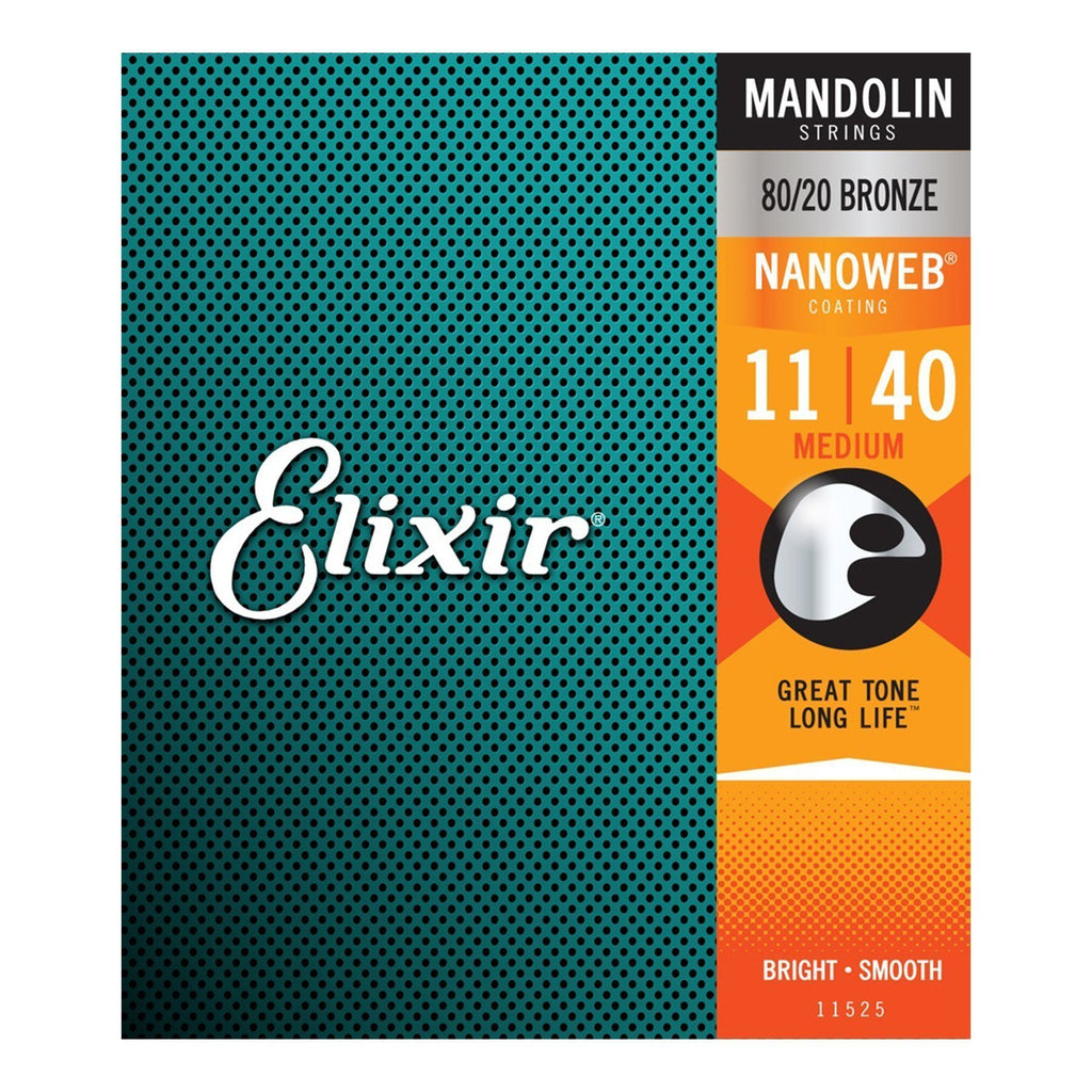 E11525-Elixir 11525 Medium Tension 80/20 Bronze Nanoweb Mandolin Strings (11-40)-Living Music